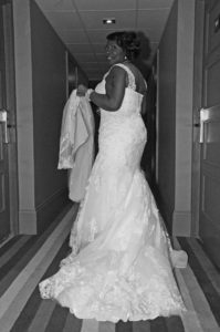 Rosemarie in her altered wedding dress